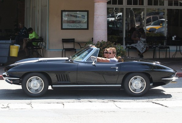 Cindy Crawford in a Corvette