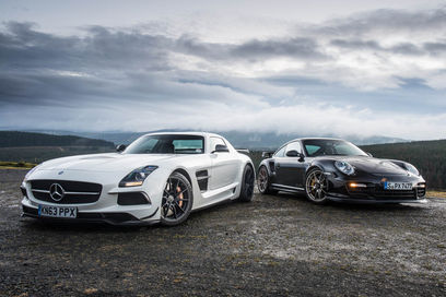 sls amg black edition vs 911 gt2 rs. Black Bedroom Furniture Sets. Home Design Ideas